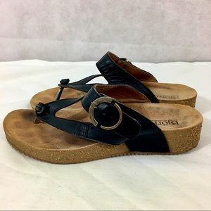 Bjorndal Leather Sandals Asya Black Thong Comfy 7M